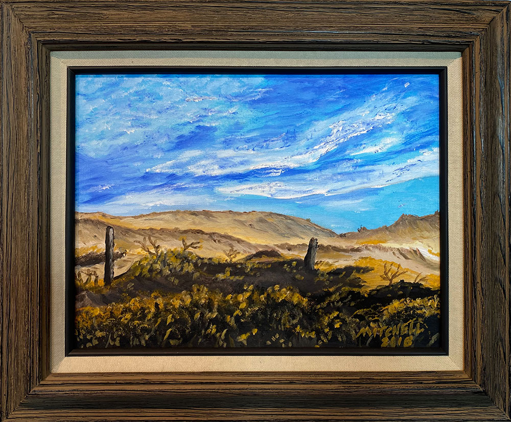 """Sand Dunes"" Framed 12""X8.5"" Oil on Panel by Mark Mitchell: $150"