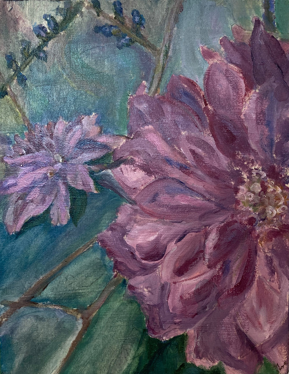 """""""Nancy's Dahlia"""" 6.25""""X8.25"""" Acrylic by Cindy Green: $80"""