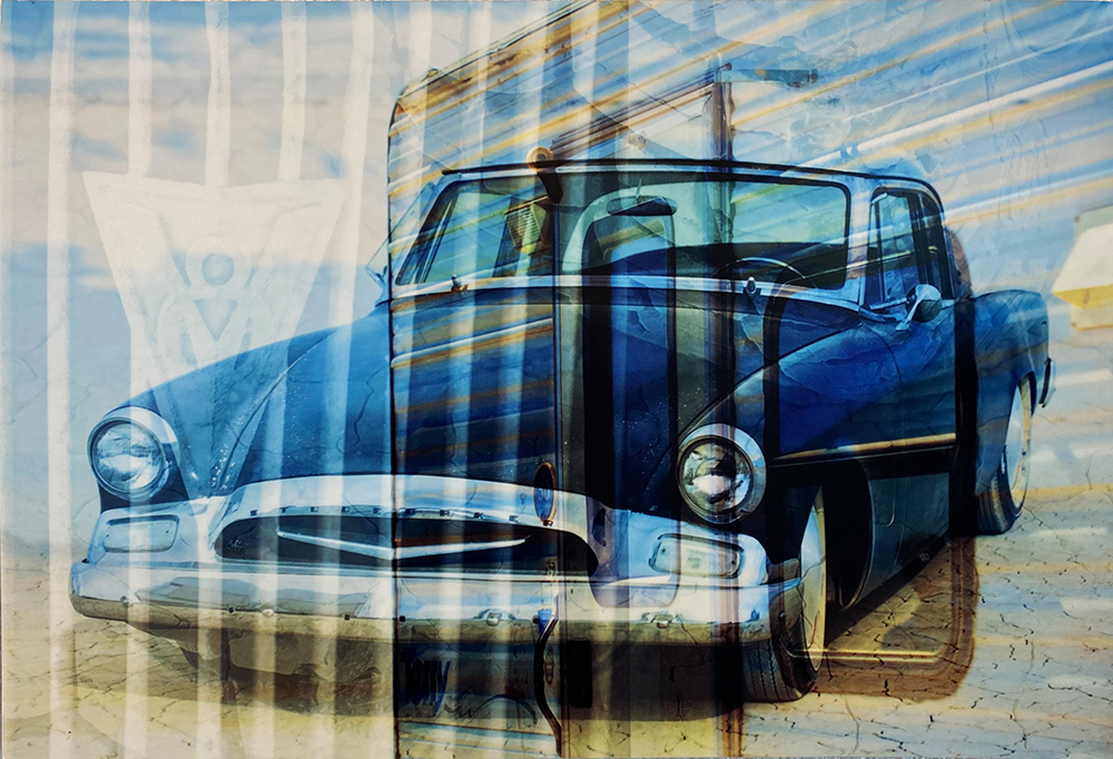 """Studebaker"" 12""x18"" Photo Collage on Metal by Amy Lundstrom: $180"