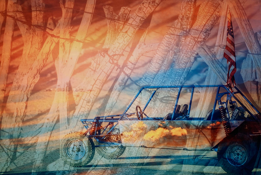 """Dune Buggy Sunset"" 12""X18"" Photo Collage on Metal by Amy Lundstrom : $180"