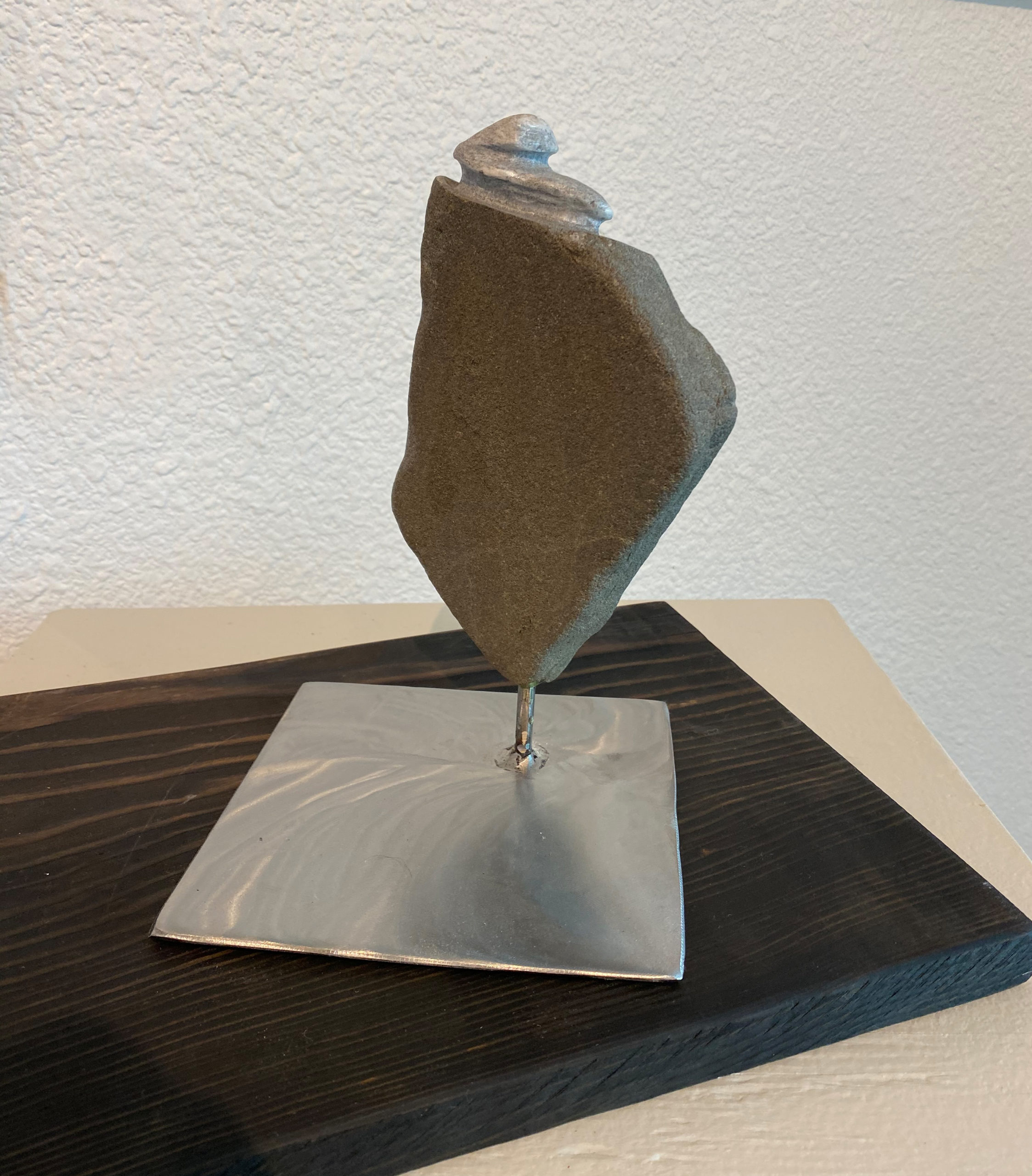 """Shift"" Stone, Steel, Old Growth Fir sculpture by Katalina Prince: $1800"