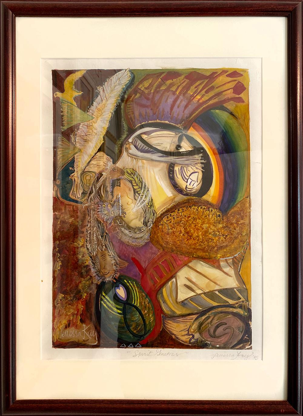 """Spirit Genetics"" mixed media aith violin varnish by Venessa Kay SOLD"