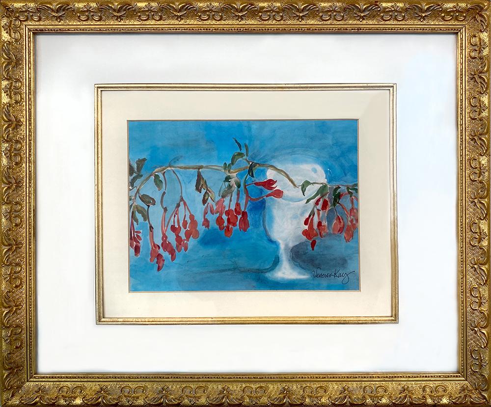 """Fuschia #9"" Watercolor on Rice Paper by Venessa Kay"
