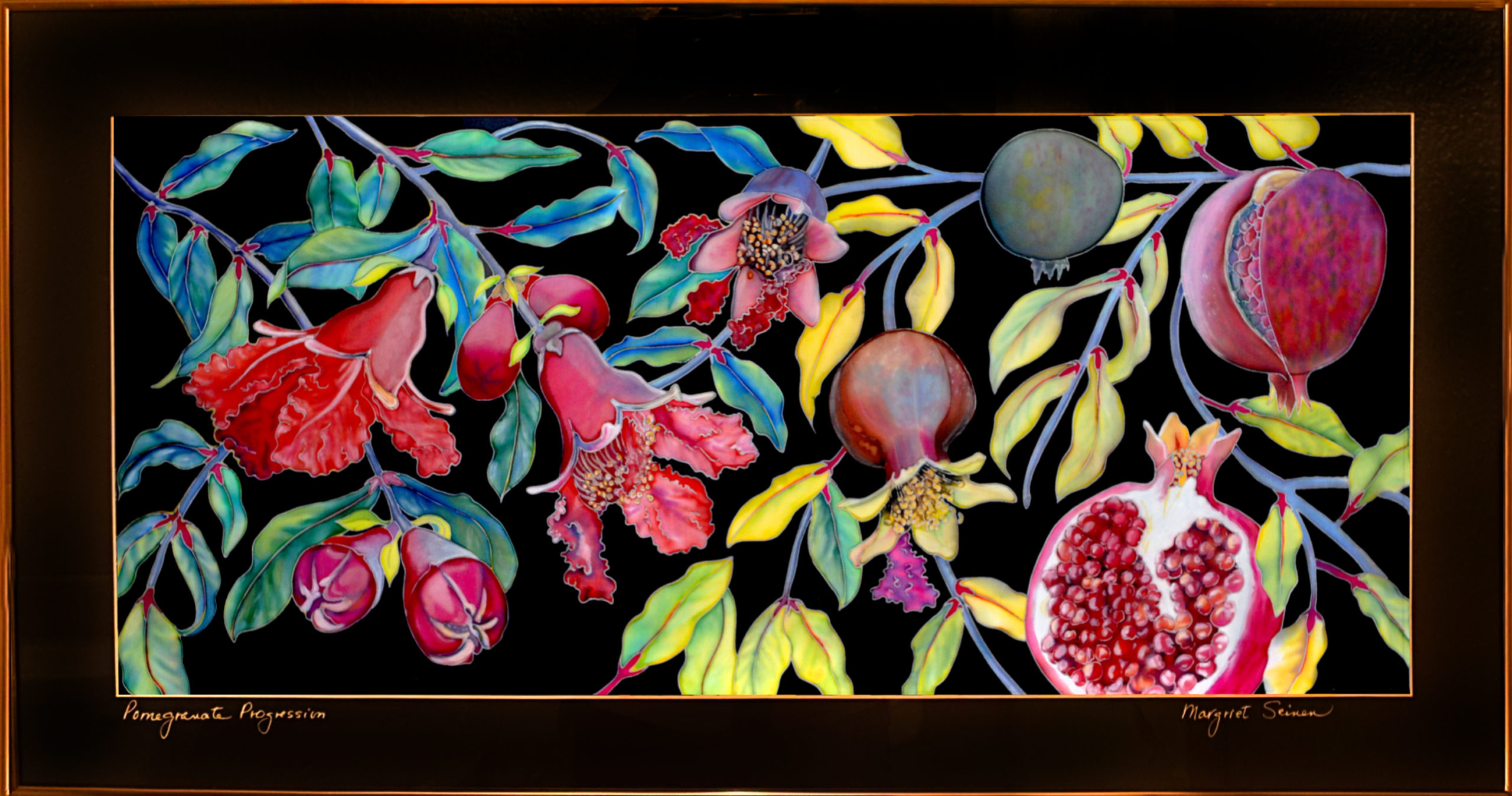 """Pomegranate Progression"" Framed 27""X11.75"" Archival Ink-Jet Print by Margriet Seinen: $225"