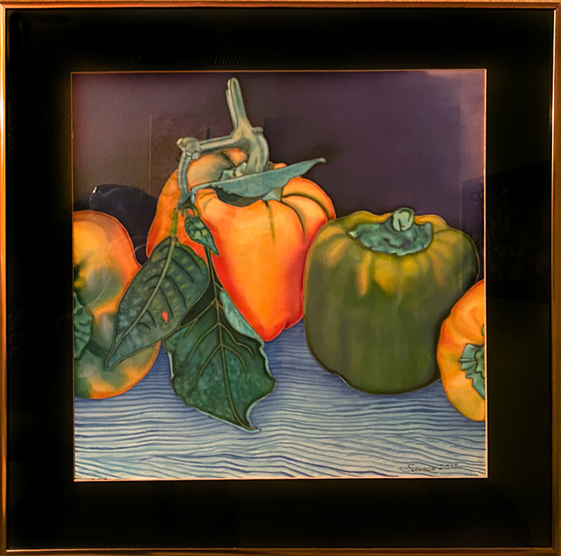 """Three Peppers"" 20""X20"" framed 15""X15"" Dye on Silk by Margriet Seinen: $400"
