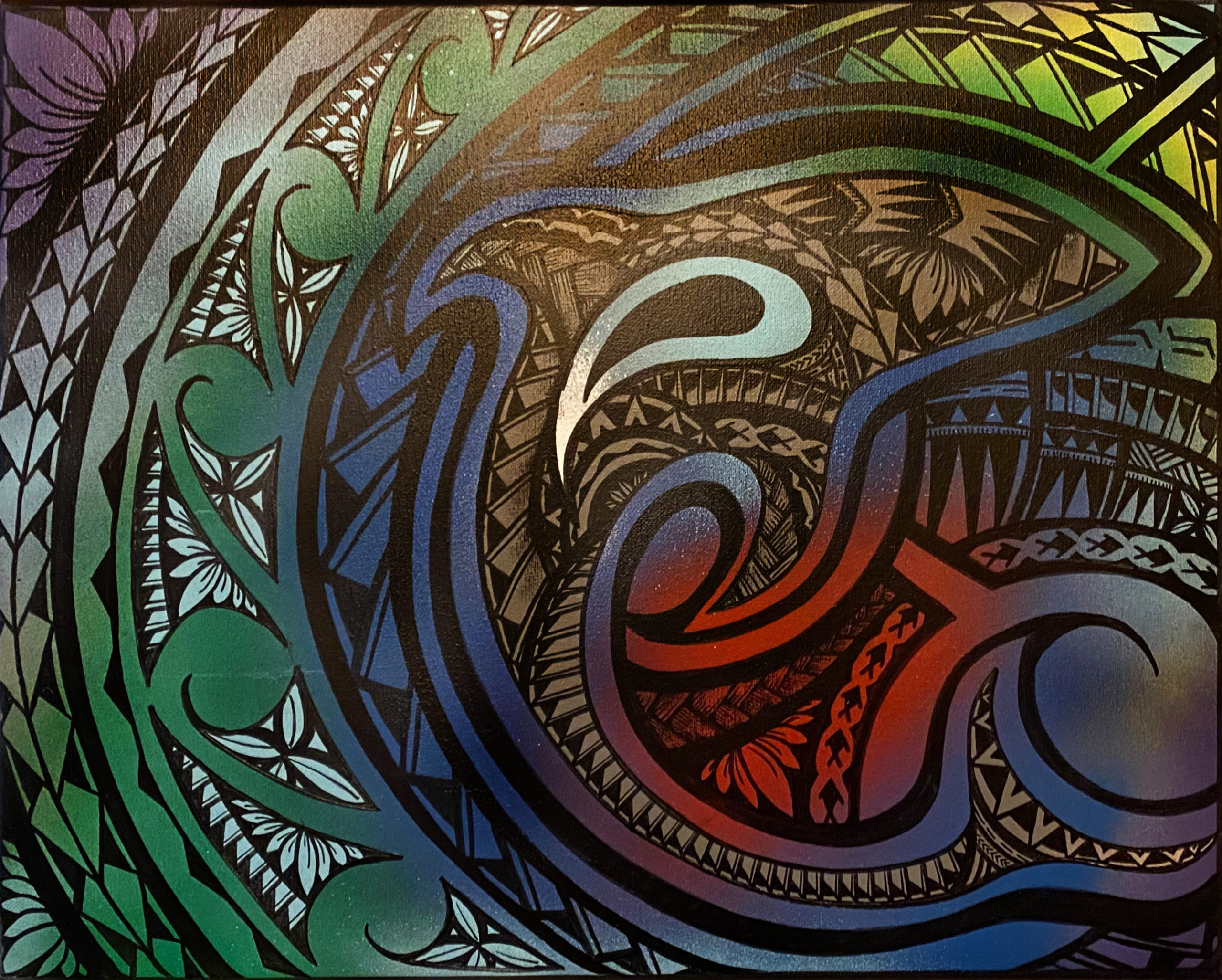"""Sea Protector"" Mixed Media stretched canvas by Richard Fatu: $100"