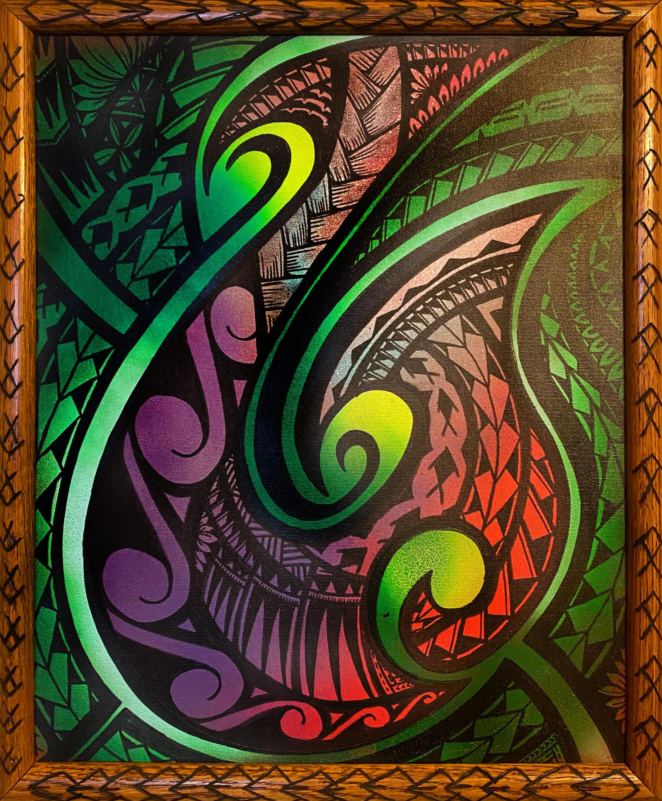 """Maori Fish Hook"" Framed Mixed Media by Richard Fatu: $140"