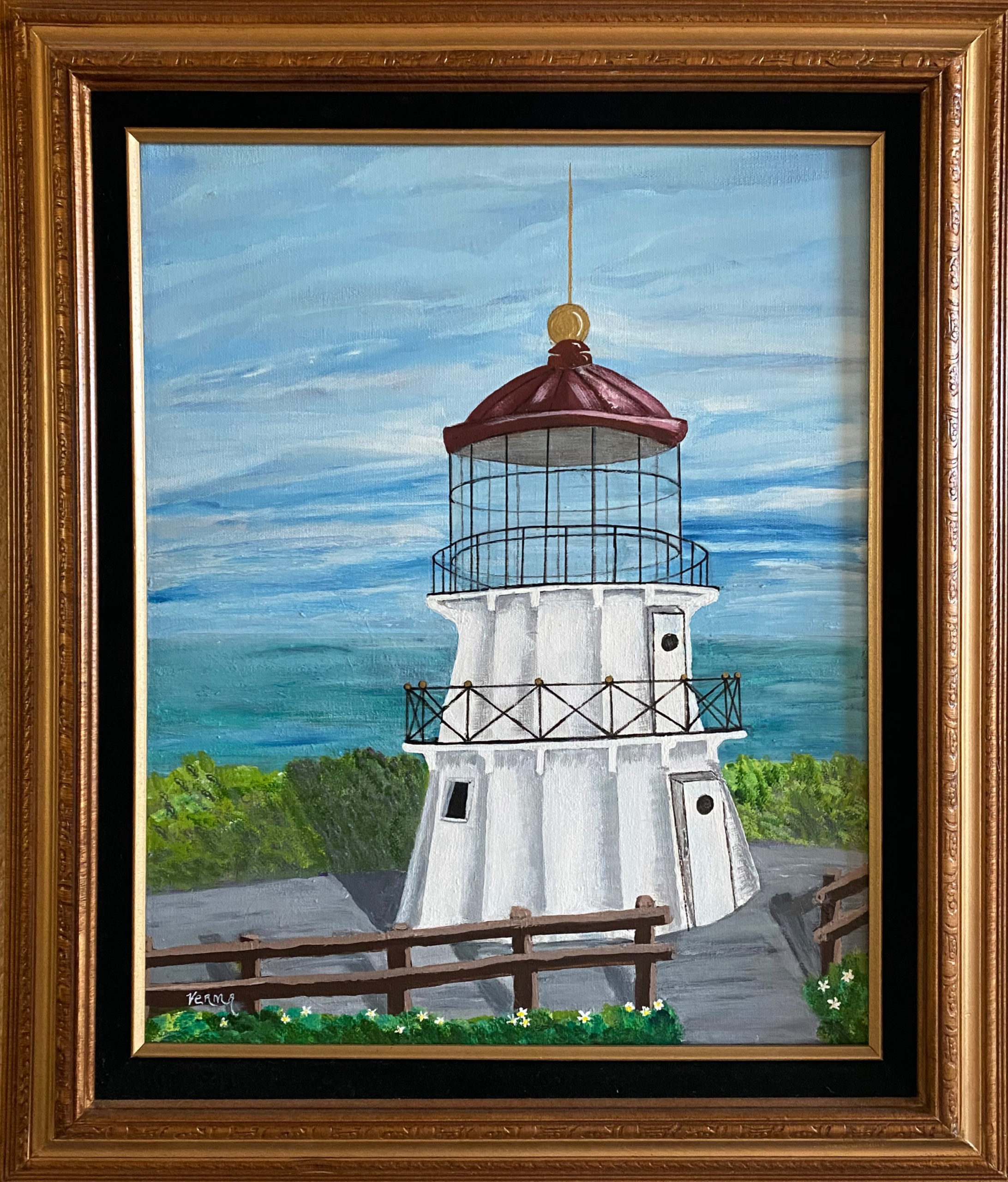 """Lighthouse After"" Framed 15.5""X19.5"" Oil painting by Verma Logan: $150"