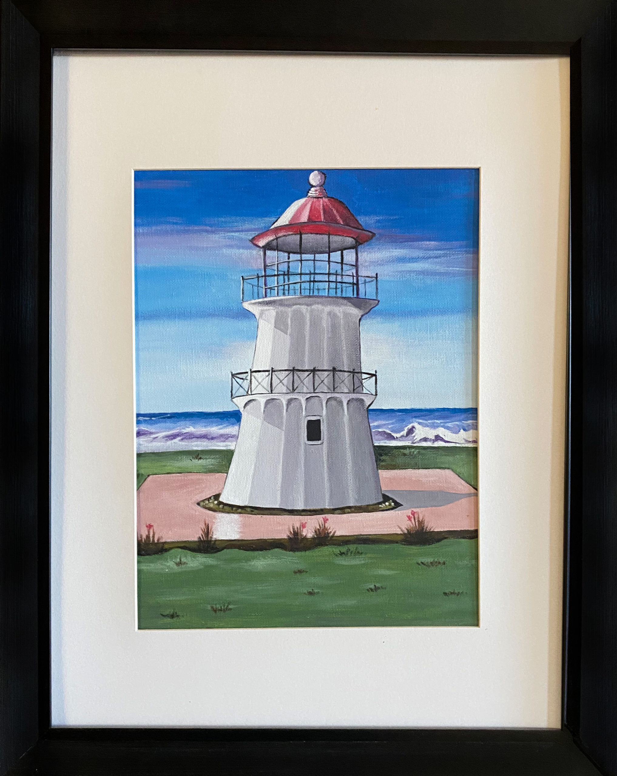 """Cove Lighthouse"" Framed 10.5""X13.5"" Acrylic by Orlene Weeks: $140"