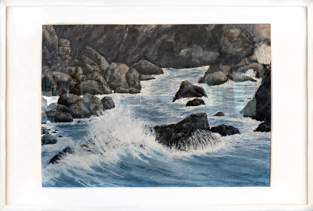 """Shelter Cove #46"" Framed 27""X19"" Oil Pastel by Brian Czaja: $500"
