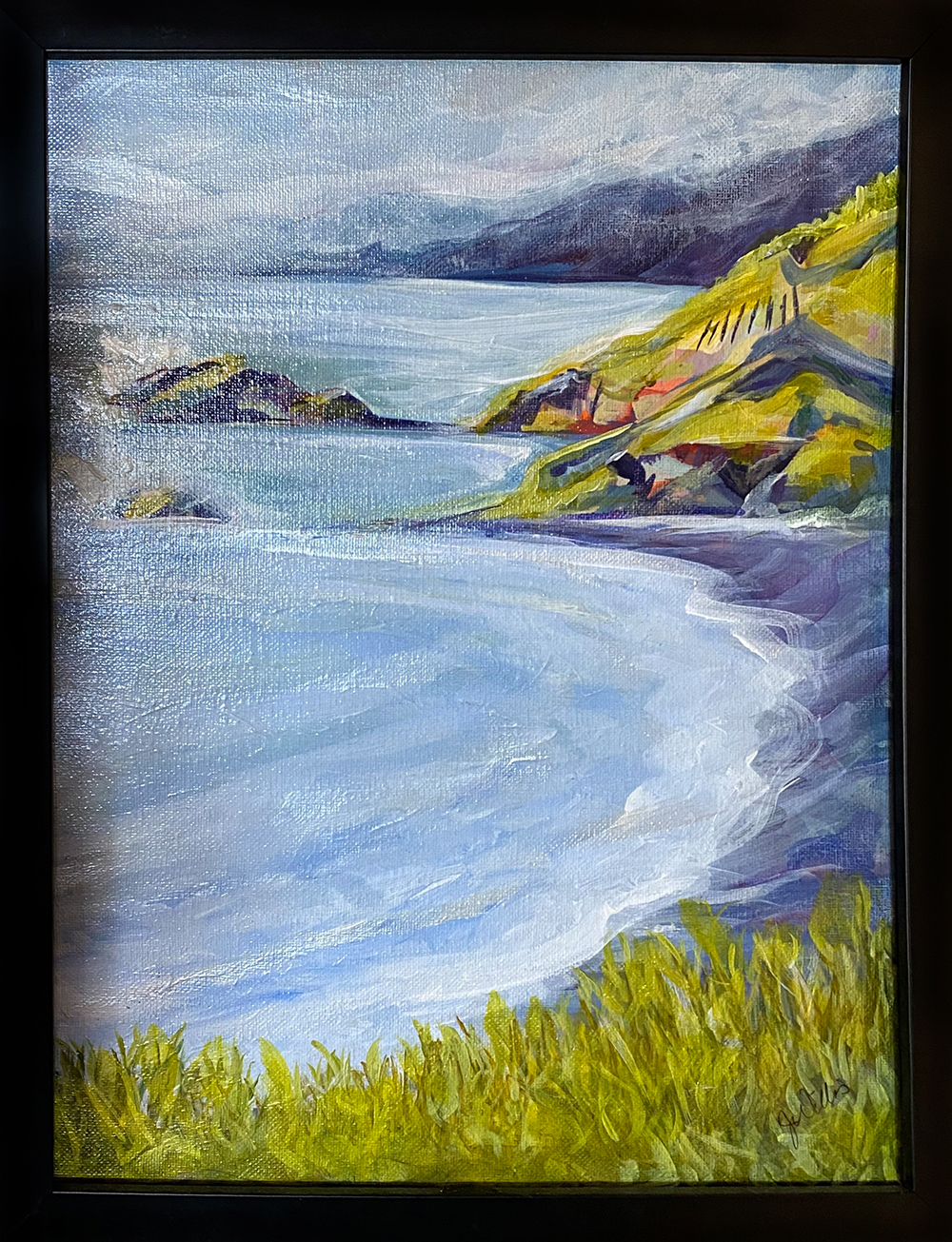 """Funky Cove"" Framed 10.5""X13.5"" Acrylic on canvas by Jessica Willis: $200"
