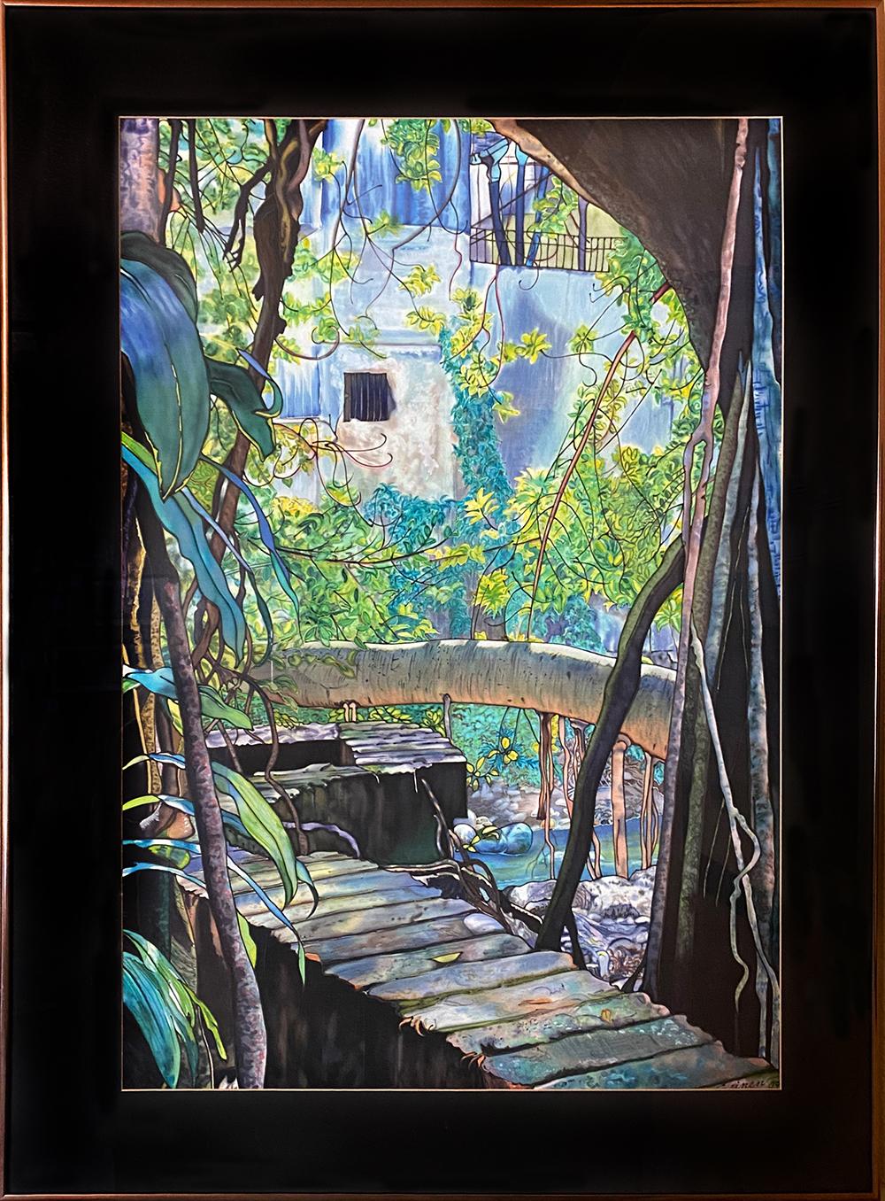 """Rio Cuala"" Framed 29""X20.5"" Dye on Silk by Margriet Seinen: $1,000"