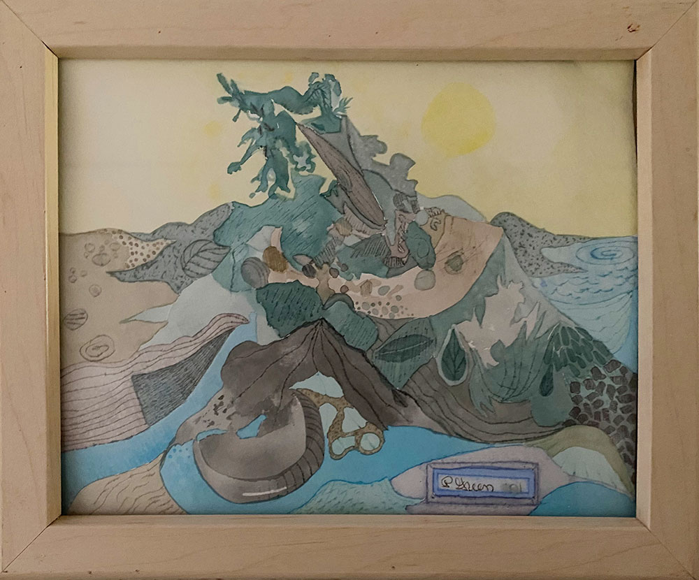 """""""View from Back of BLM Cabin"""" Framed artwork by Robert Poplack for Auction in August 2020"""